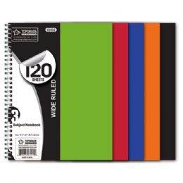 48 Units of 3 Subject 120 Count Notebook Poly Cover - Notebooks