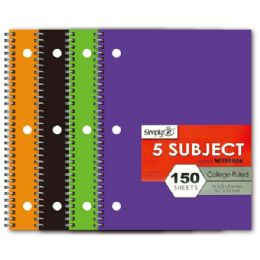 72 Units of Five Subject Notebook College Rule - Notebooks