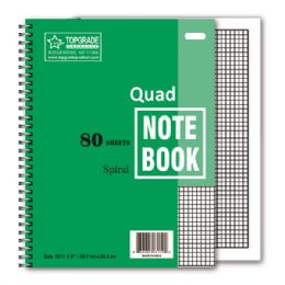 96 Units of 80 Count Quad Ruled Spiral Book - Notebooks