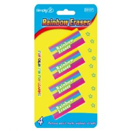 144 Units of Four Piece rainbow eraser - Erasers