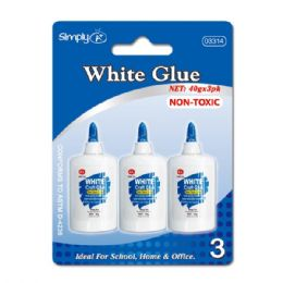 96 Units of White glue 3 count/40g - Glue Office and School