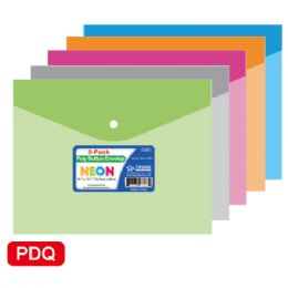 96 Units of Two Count poly button envelope - Folders and Report Covers