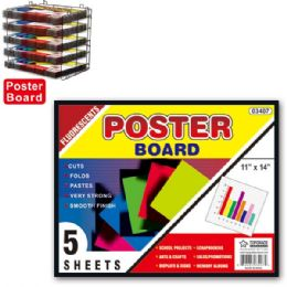 """96 Units of Poster board neon 11x14""""/5 count - Poster & Foam Boards"""