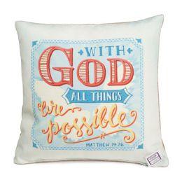 60 Units of Pillow 12x12 Matthew 19:26 - Pillows