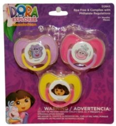 72 Units of Dora The Explorer 3 Pack Pacifier - Baby Accessories