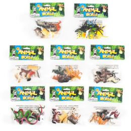 96 Units of Animal World 6pk/8asst Plastic Figures On 12pc Clipstrip - Animals & Reptiles