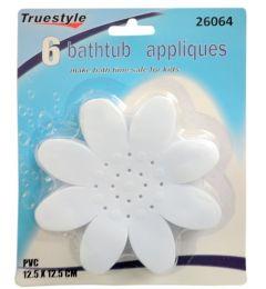 72 Units of 6 Piece Bath Tub Flower Appliques - Bath And Body