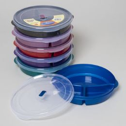 48 Units of Plate 3-sec W/lid & Microwave Vent 6 Color Bottoms/clear Lid #sindoora - Microwave Items