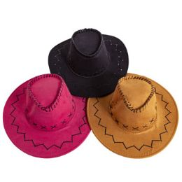 18 Units of Cowboy Hat Adult Size 3ast Clrs Faux Leather Look/stitch Detail Black/brown/camel Hangtag - Cowboy & Boonie Hat