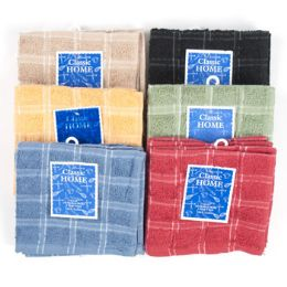 72 Units of Dish Cloth 2pk 12x12 6 Asst Colors - Kitchen Towels