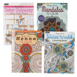 72 Units of Coloring Book Adult 32pg 4 Asst Random Design In Floor Display - Coloring & Activity Books