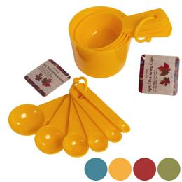 72 Units of Measuring Cup 4pk Or Spoon 6pk Plastic/fall Colors/fall Ht - Measuring Cups and Spoons