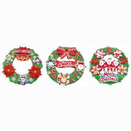 96 Units of Xmas 3D Cutout Wreath - Christmas Ornament