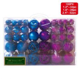 12 Units of 100 PACK xmas ball set assorted 32pk-31mm 36pk-41mm 32pk-61mm - Christmas Decorations