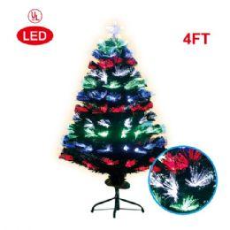 4 Units of 4 Foot optical fiber tree 1's pre-lit LED UL - Christmas Ornament