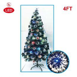 4 Units of 4 Foot optical fiber tree pre-lit LED UL - Christmas Ornament