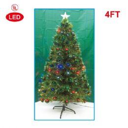 2 Units of 4 Foot optical fiber tree pre-lit LED UL - Christmas Ornament