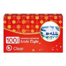 24 Units of 100l icicle light clear UL - Christmas Novelties