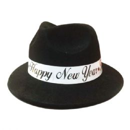 144 Units of Happy New Year Hat Black - New Years