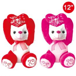 12 Units of Twelve Inch Bear With Heart - Valentine Decorations
