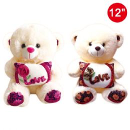 "12 Units of 12"" Bear with pillow - Valentines"