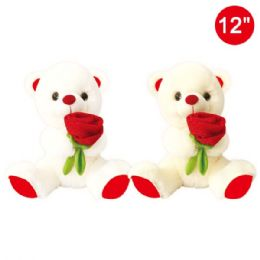 12 Units of Twelve Inch Bear With Rose - Valentine Decorations