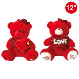 12 Units of Twelve Inch Red Bear With Heart - Valentine Decorations
