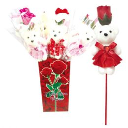 48 Units of Soap Rose With Bear - Valentine Decorations