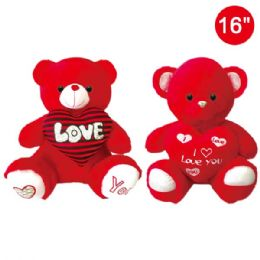 12 Units of Sixteen Inch Red Bear With Heart - Valentine Decorations