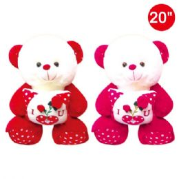 "6 Units of 20"" Bear With Pillow - Valentines"