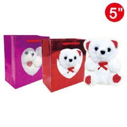 "96 Units of 5""Bear in window bag - Valentine Gift Bag's"