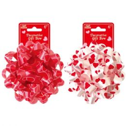 144 Units of Six Inch Valentines Day Gift Bow - Valentines