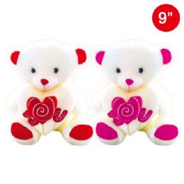 24 Units of Nine Inch Bear With Heart - Valentine Decorations