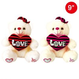 24 Units of Nine Inch Bear With Heart And Hat - Valentine Decorations