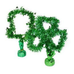 72 Units of Tinsel Table Hat/shamrock 14in H Green Decor Weighted Bottom/ht - St. Patricks
