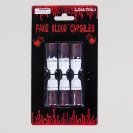 96 Units of FAKE BLOOD CAPSULES S/6 0.17OZEA - Halloween & Thanksgiving