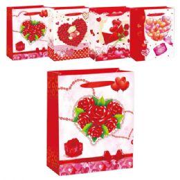 "96 Units of V-day 3D Bag 10.5x13x5.5""/Large - Valentine Gift Bag's"