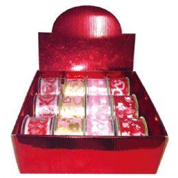 96 Units of V-gift ribbon 2.5x3 Yard - Valentine Cut Out's Decoration