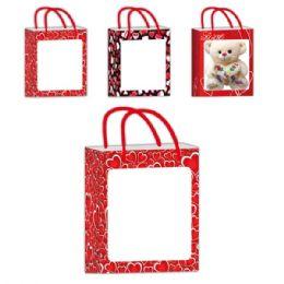 "96 Units of Printed Window Bag/xlarge 12.5x14x7.5"" - Valentine Gift Bag's"