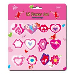144 Units of V-day Eraser Set 12 Pack - Valentines