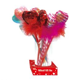96 Units of Valentines Day Heart Ball Pen With Rose - Valentine Gift Bag's