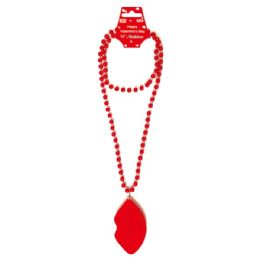 96 Units of Valentines Day Necklace With Lip - Valentine Decorations