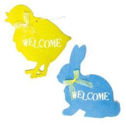 96 Units of Thirteen Inch Welcome Plaque With Glitter - Easter