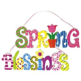 144 Units of Seventeen Inch Spring Plaque With Glitter - Easter
