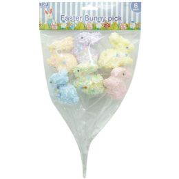 108 Units of 6 Count Foam Bunny Picks - Easter