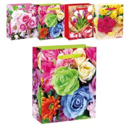 144 Units of Floral Bag Glitter Medium - Mothers Day