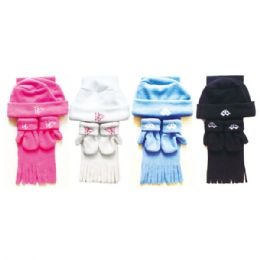 72 Units of 3 Piece kid's fleece set - Winter Sets Scarves , Hats & Gloves
