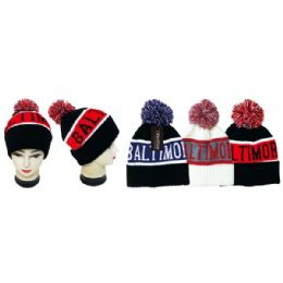 36 Units of Unisex Winter Pompom Hat Baltimore Print - Winter Hats