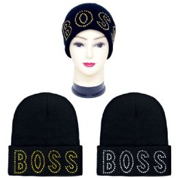 36 Units of Knitted Hat With Rhinestone's Boss Print - Winter Beanie Hats