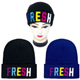 36 Units of Unisex Winter Knitted Hat FRESH Embroidery - Winter Beanie Hats